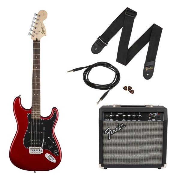 Electric Guitar Pack in Candy Apple Red Squier Affinity Stratocaster HSS