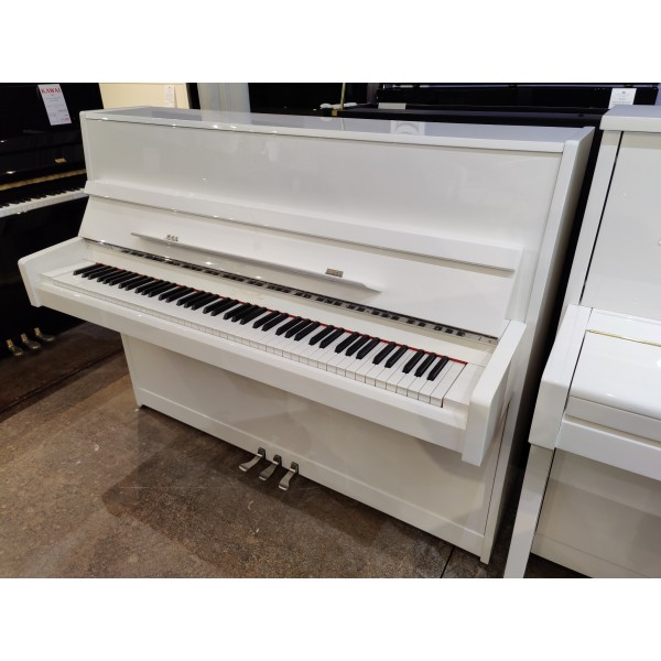 Ritmüller EU 112 Upright Piano in white and chrome