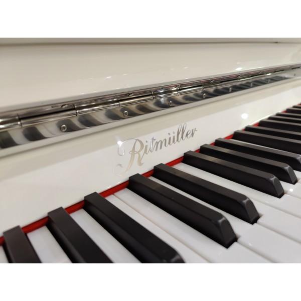 Ritmüller EU 112 Upright Piano chrome name and hinges