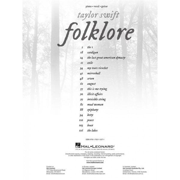 Swift, Taylor - Folklore (Piano, Vocal & Guitar)