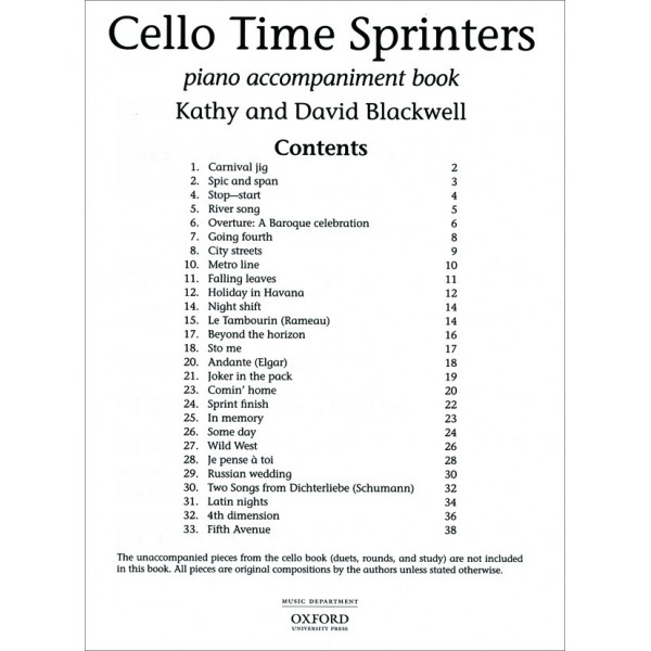 Cello Time Sprinters Piano Accompaniments - Blackwell, Kathy  Blackwell, David