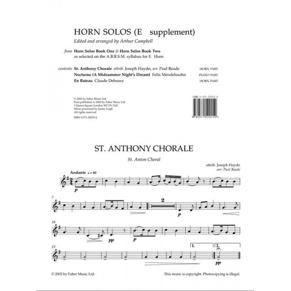Campbell, Arthur (editor) - Horn Solos. Books 1 & 2 (Eb supplement)