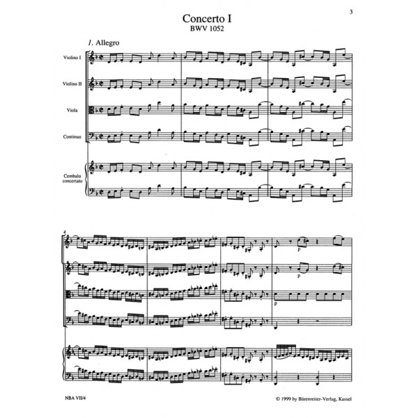 Bach J.S. - Concerto for Keyboard No.4 in A (BWV 1055) (Urtext).