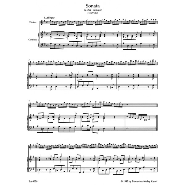 Handel G.F. - Complete Works for Violin & Basso continuo. (Urtext).