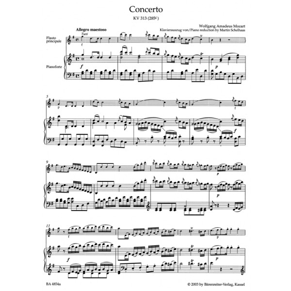 Mozart W.A. - Concerto for Flute No.1 in G (K.313) (K.285c) (Urtext).