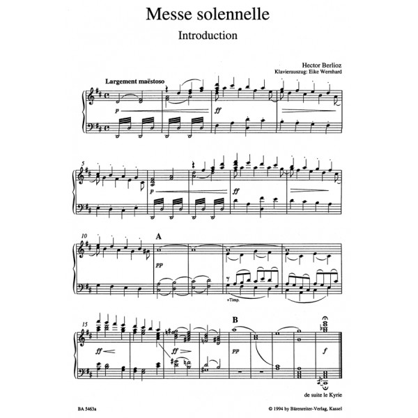 Berlioz H. - Messe Solennelle (Urtext) (first edition).