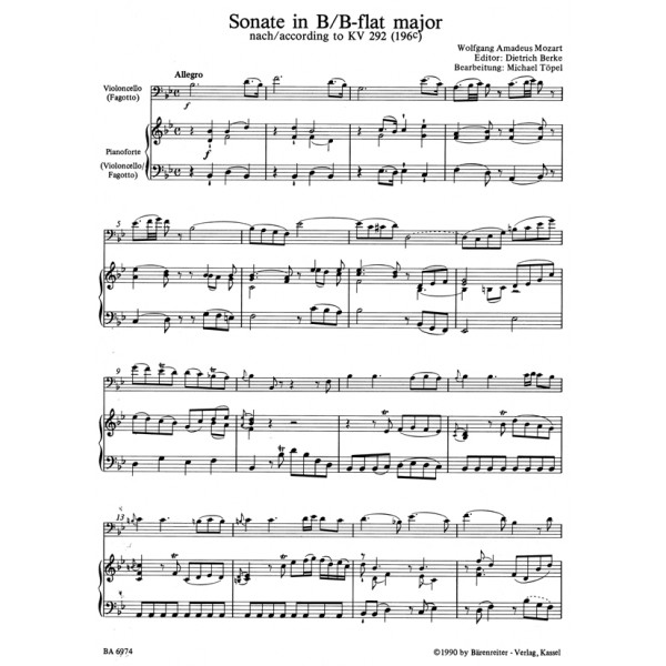 Mozart W.A. - Sonata in B-flat (K.292) (Urtext).