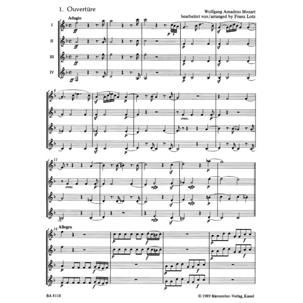 Mozart W.A. - Magic Flute. 6 Pieces arranged for 4 Clarinets.
