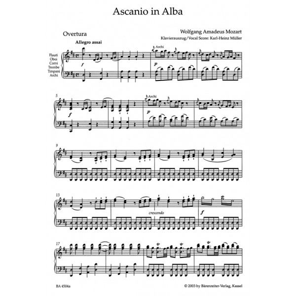 Mozart W.A. - Ascanio in Alba. Festspiel in 2 parts (K.111) (It) (Urtext).