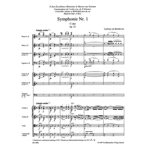 Beethoven L. van - Symphony No.1 in C, Op.21 (Urtext) (ed. Del Mar).