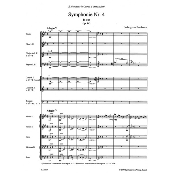 Beethoven L. van - Symphony No.4 in B-flat, Op.60 (Urtext) (ed. Del Mar).