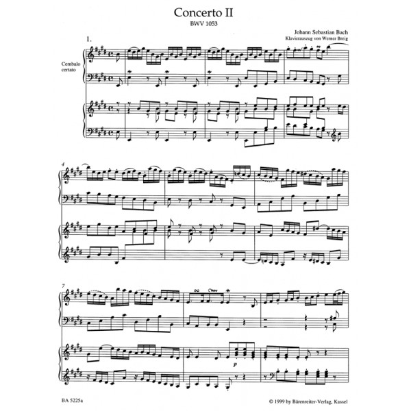 Bach J.S. - Concerto for Keyboard No.2 in E (BWV 1053) (Urtext).