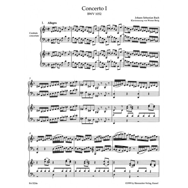 Bach J S - Concerto for Keyboard No 1 in D minor (BWV