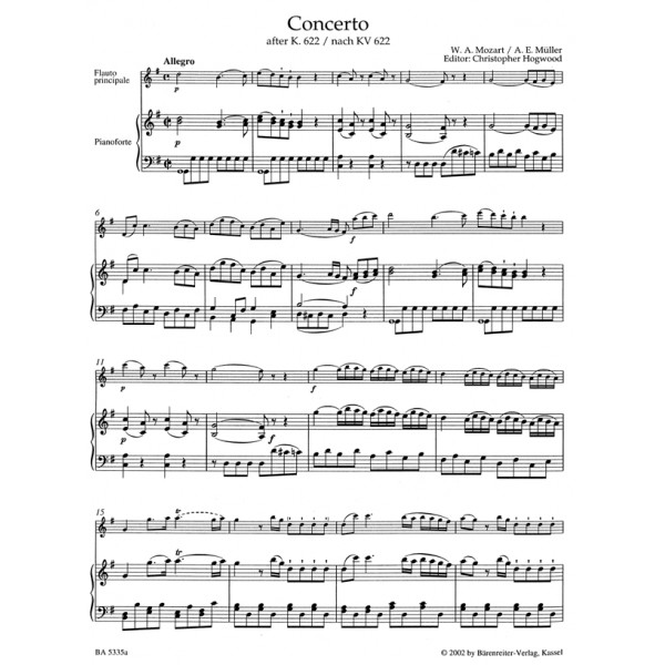Mozart Wa Concerto For Flute In G Based On The Clarinet Concerto K622
