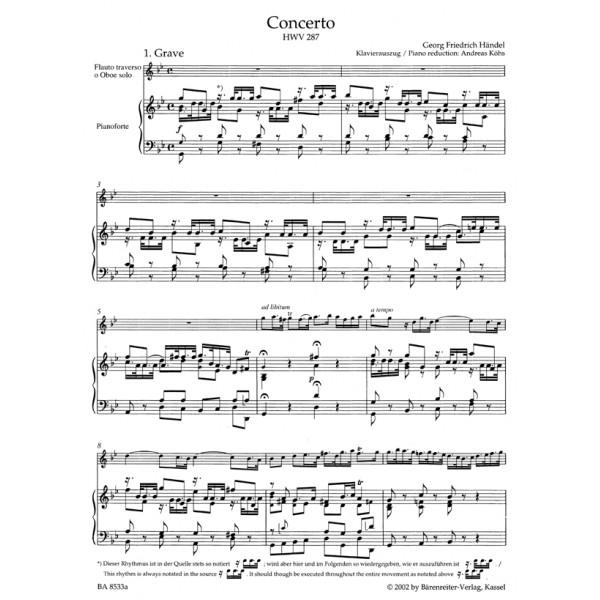 Handel G.F. - Concerto for Flute (Oboe) in G minor (HWV 287) (First edition)