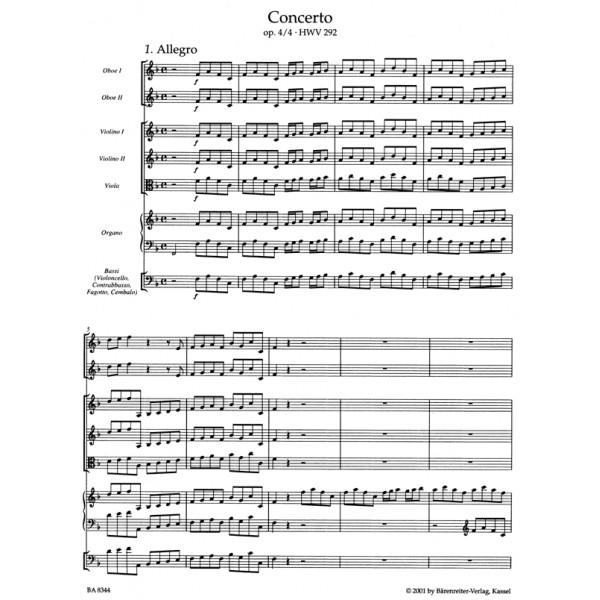 Handel G.F. - Concerto for Organ, Op.4/ 4 in F (HWV 292) (Urtext).