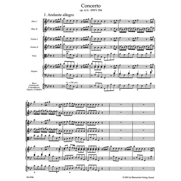 Handel G.F. - Concerto for Organ, Op.4/ 6 in B-flat (HWV 294) (Urtext).
