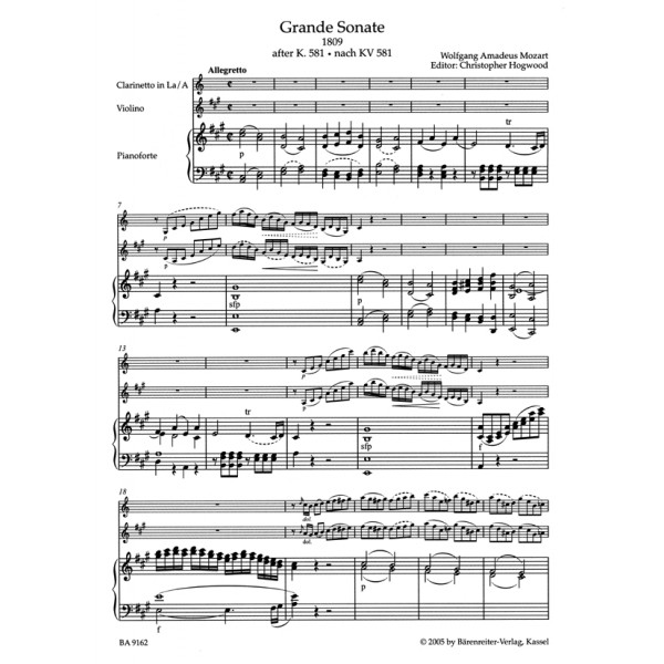 Mozart W.A. - Clarinet Quintet in A (K.581).  Grande Sonate arranged for