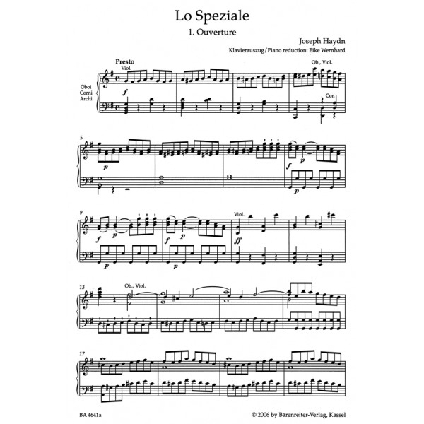 Haydn F.J. - Lo Speziale (Der Apotheker) Dramma giocoso (Hob.XXVIII:3) (Urtext).