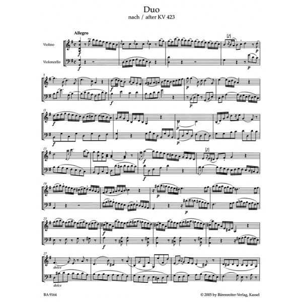 Mozart W.A. - Duos (2) for Violin and Violoncello (K.423-424) (1805).