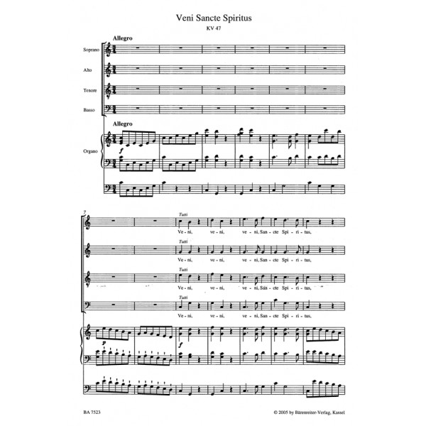 Mozart W.A. - Short Sacred Works (K.141, 117, 618) (Version for Choir & Organ)