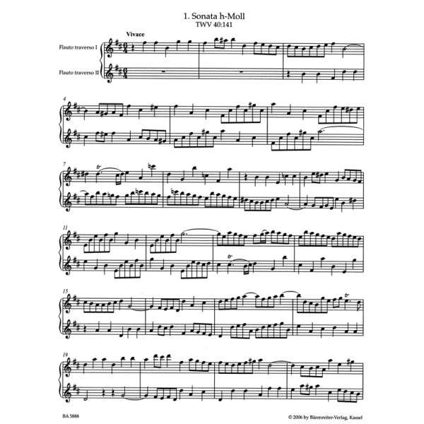 Telemann G.P. - Sonatas (9) for two Flutes without Bass (TWV 40: 141 - 149)