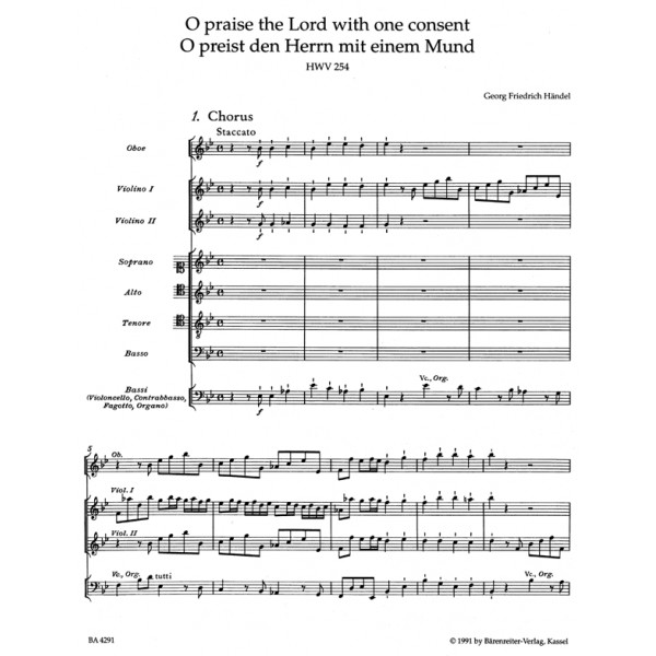 Handel G.F. - O praise the Lord (HWV 254) (E-G) (Chandos Anthem) (Urtext).