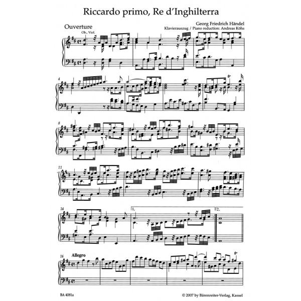 Handel G.F. - Riccardi primo, Re dInghilterra (HWV 23) (It) (Urtext).