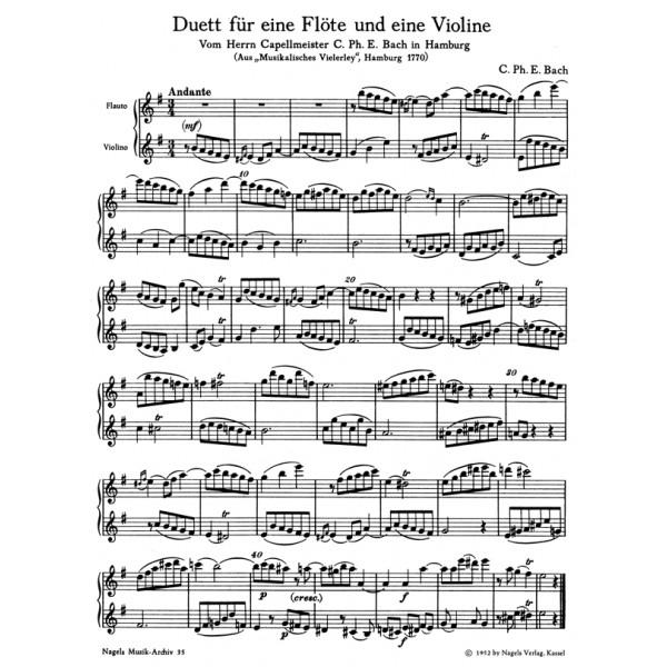 Bach C.P.E. - Duos (2) in E minor (Wq 140) & in C (Wq 142).