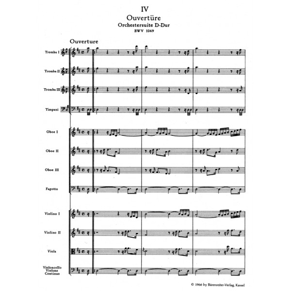 Bach J.S. - Suite (Overture) No.4 in D (BWV 1069) (Urtext).