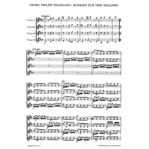 Telemann G.P. - Concerto for Four Violins in D.