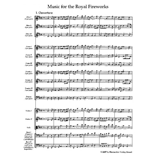 Handel G.F. - Fireworks Music (HWV 351) Music for the Royal Fireworks (Urtext).