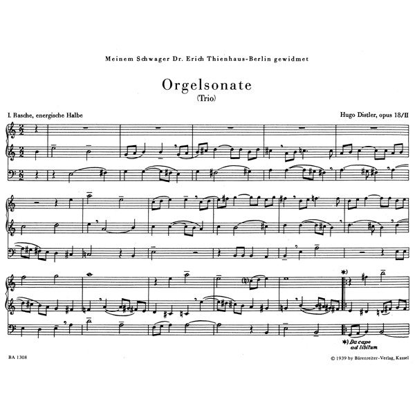 Distler H. - Organ Sonata (Trio), Op.18/ 2.