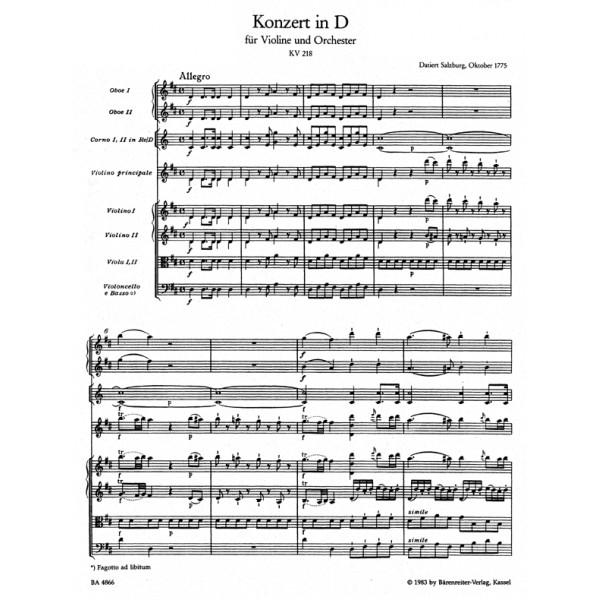 Mozart W.A. - Concerto for Violin No.4 in D (K.218) (Urtext).