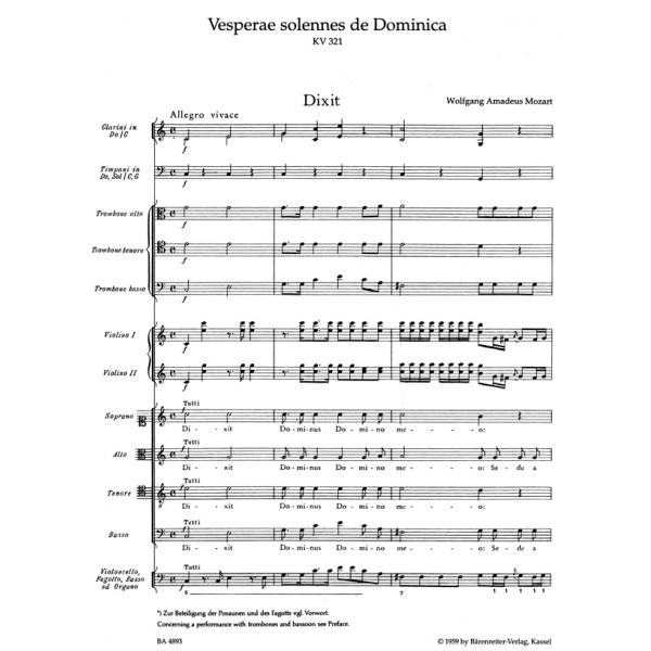 Mozart W.A. - Vesperae solennes de Dominica (K.321) (Urtext).