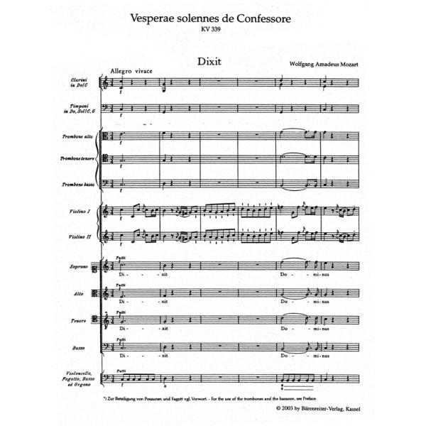 Mozart W.A. - Vesperae solennes de Confessore (K.339) (Urtext).