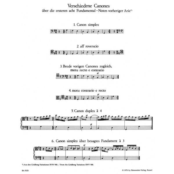 Bach J.S. - Canons (14) (2-6 pt) (BWV 1087) (Urtext).