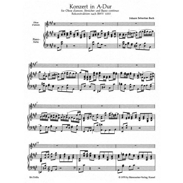 Bach J.S. - Concerto for Oboe damore in A (after BWV 1055) (Urtext).