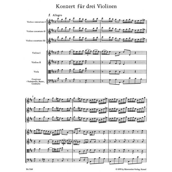 Bach J.S. - Concerto for Violins (3) in D (after BWV 1064) (Urtext).
