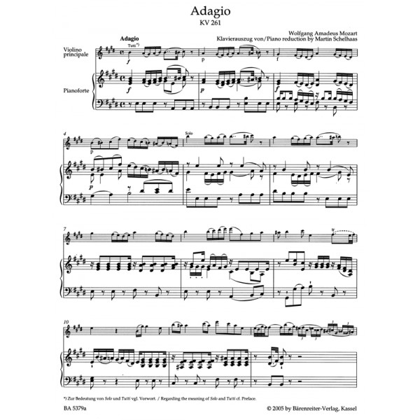 Mozart W.A. - Adagio in E for Violin (K.261) (Urtext).