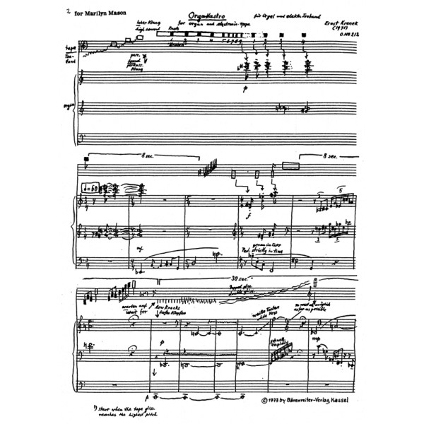 Krenek E. - Orga-Nastro Op. 212 (1971).