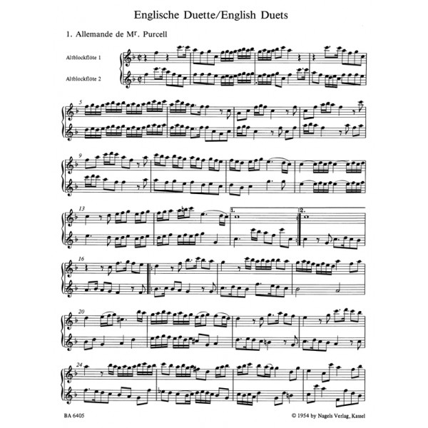 Various Composers - English Duets.  43 Pieces written around 1700.
