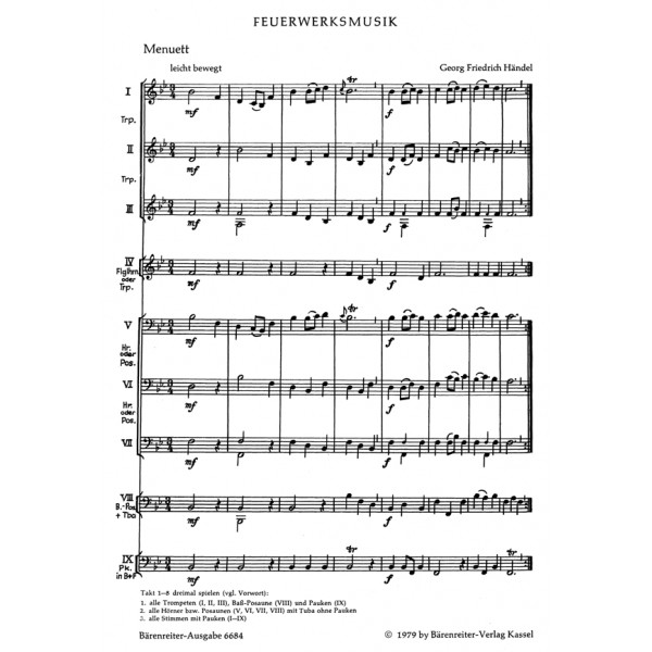 Handel G.F. - Music for Brass (movements from Fireworks: Watermusic: Jephta: