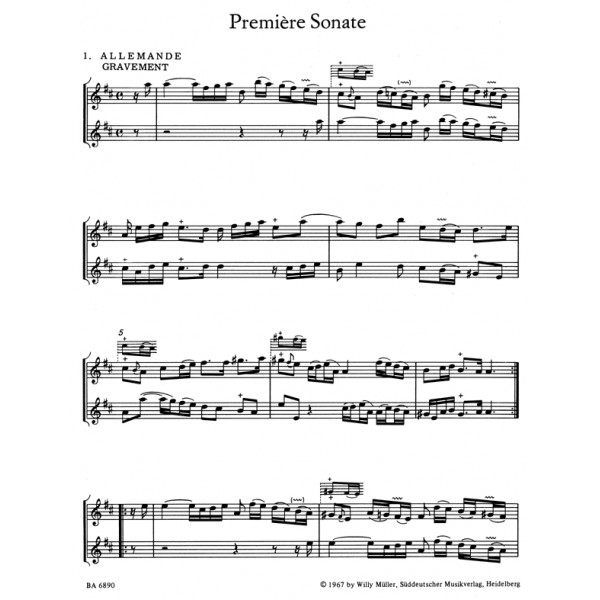 Boismortier J.B. de - Sonatas (6) for Two Flutes Without Bass, Op.1.