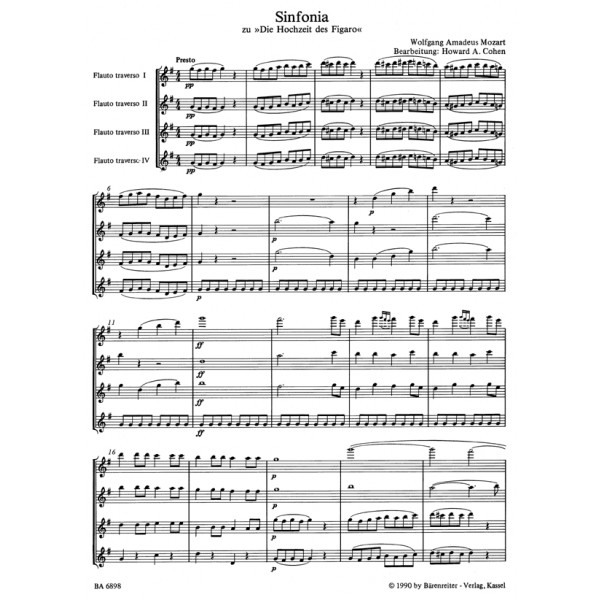 Mozart W.A. - Marriage of Figaro Overture arranged for Flutes.