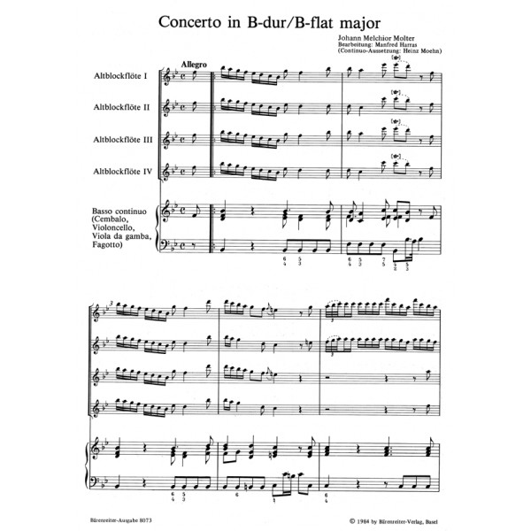 Molter J.M. - Concerto in B-flat.