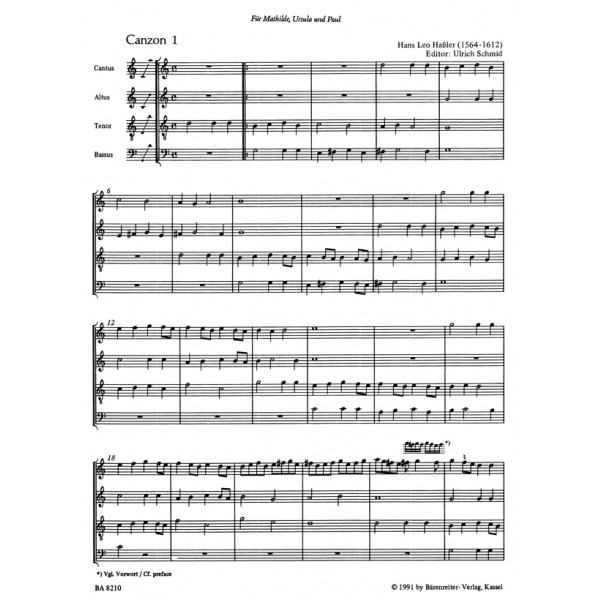 Erbach C. - Instrumental Canzonas. (Together with Canzonas by Hassler).