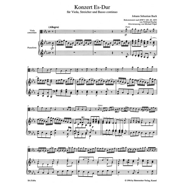 Bach J.S. - Concerto for Viola in E-flat (reconstruction based
