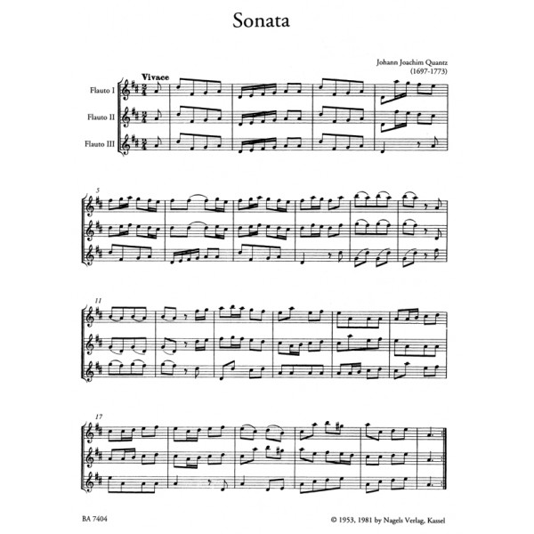 Quantz J.J. - Sonata for Flutes (3) in D.