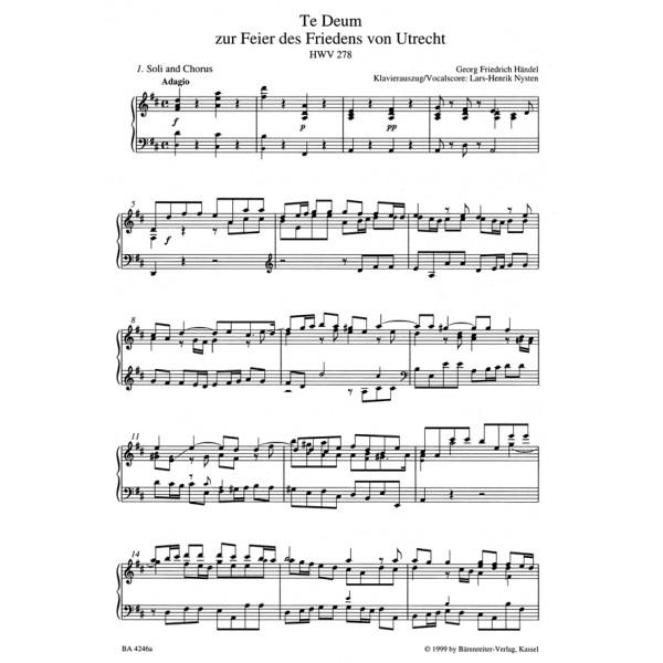 Handel G.F. - Utrecht Te Deum (HWV 278) (E-L) (Urtext).